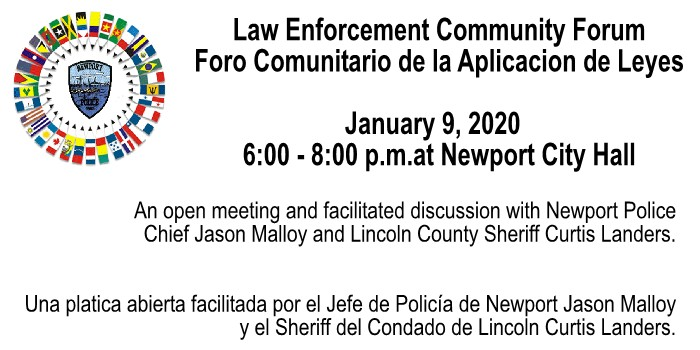 Law Enforcement Community Forum - January 9th, 2020, at City Hall