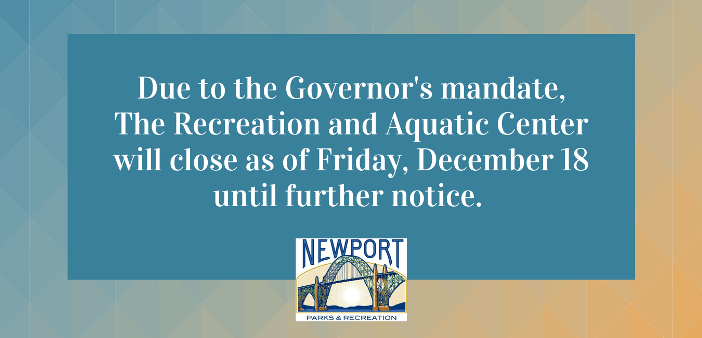 Recreation Center and Aquatic Center to close 12-18-20