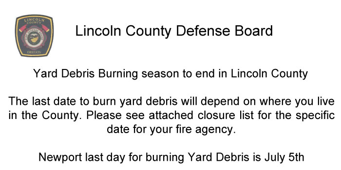 Last day for burning Yard Debris